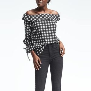 Checkered Off The Shoulder Top